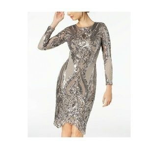 Betsy&Adam 10 Sequin Body Con Dress 8BD53